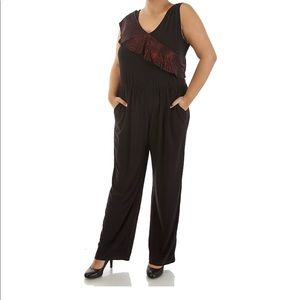 Sleeve Jumpsuit With Draping Overlay